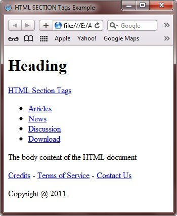 HTML nav article header footer address aside tags