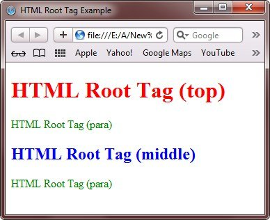 html root tags