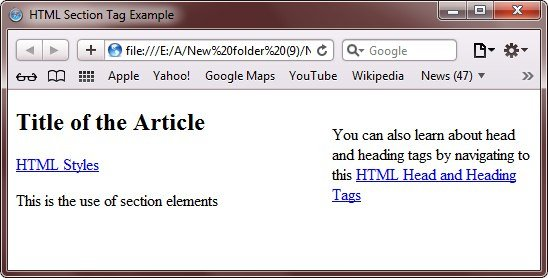 html section tag example