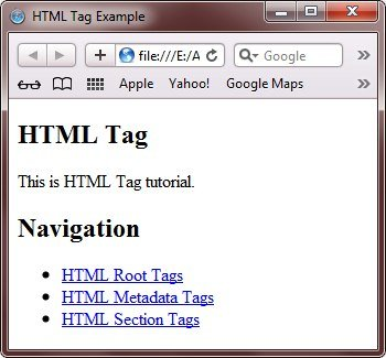 HTML Section Tags