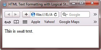 html text format small tag