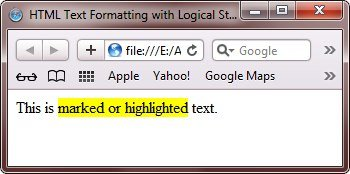 html text formatting with logical style tags