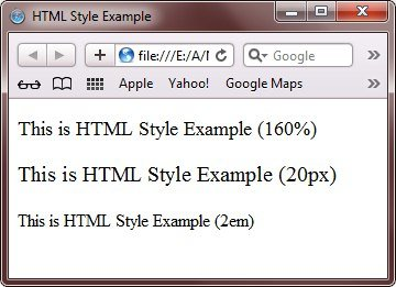 html text size