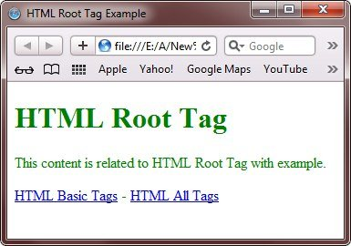 html root tags example