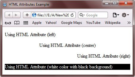 HTML Attributes Example