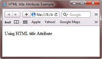 HTML Title Attribute Example