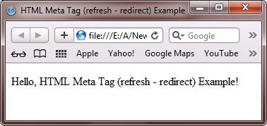 redirect web page automatically meta tag html