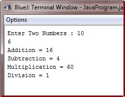 addition subtraction multiplication division in java