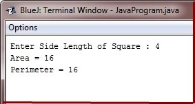Java Program calculate area perimeter of square