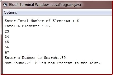 binary search in java program