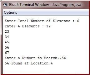 java program binary search