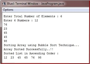 Java Program Bubble Sort