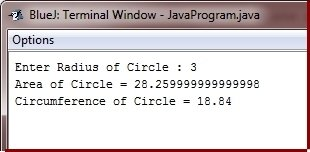 Java Program calculate area circumference of circle