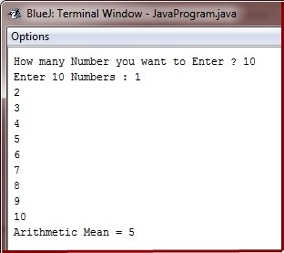 Java Program calculate average of number