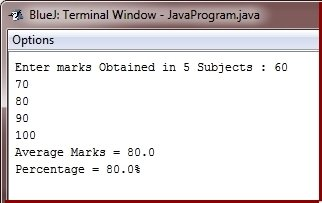 Java Program calculate average percentage marks