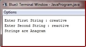 java program check anagram or not