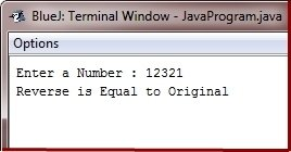 Java Program check original number equals reverse