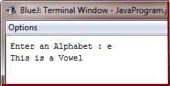 Java Program check vowel