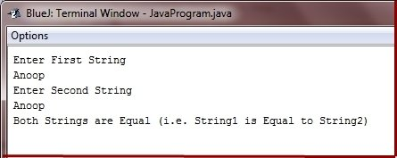 Java Program compare two strings