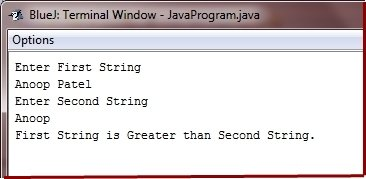 compare two strings in java