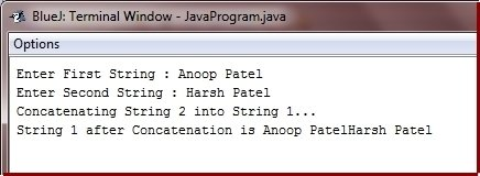 Java Program concatenate two strings