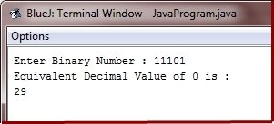 Binary to decimal conversion code in java