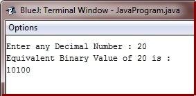 Java Program to Convert Decimal to Binary