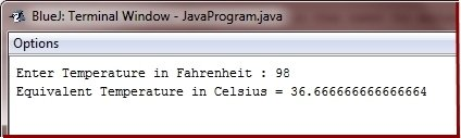 Java Program convert Fahrenheit to centigrade