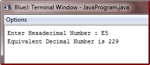 Java Program convert hexadecimal to decimal