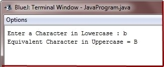 Java Program convert lowercase character to uppercase