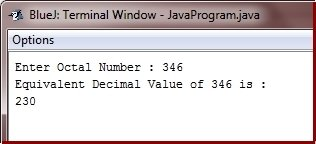 Java Program convert octal to decimal