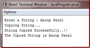 Java Program copy string