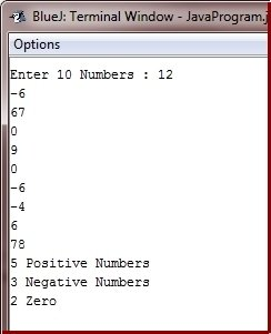 Java Program count positive negative zero