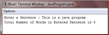 Java Program count number of words in sentence