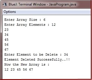Java Program delete element from array