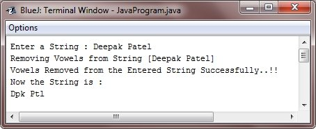 Java Program remove vowels from string
