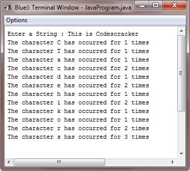 Java Program find frequency of character