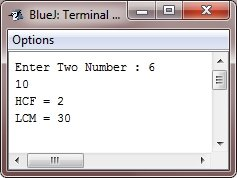 Java Program to Find HCF LCM of Two Numbers