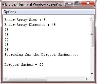 Java Program find largest element in array