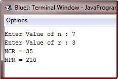 Java Program find ncr npr