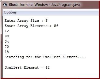 Java Program find smallest element in array