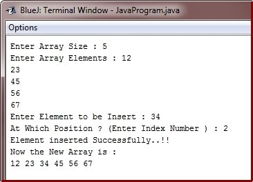 Java Program insert element in array