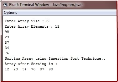 Java Program insertion sort