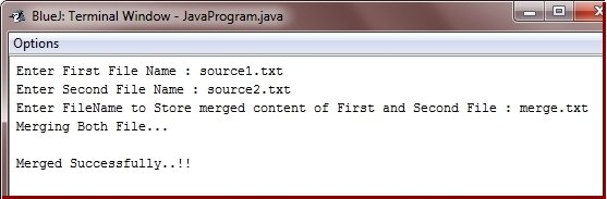 Java Program to merge two files