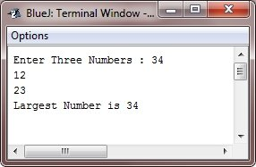 Java Program find largest from three numbers