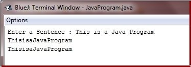 Java Program remove spaces from string