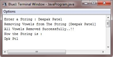Java Program delete vowels from string