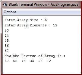 Java Program to reverse array