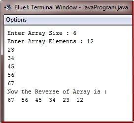 Java Program to Reverse Array