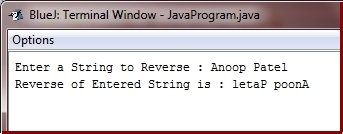 Java Program to reverse string